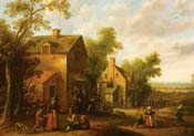 village scene with peasants